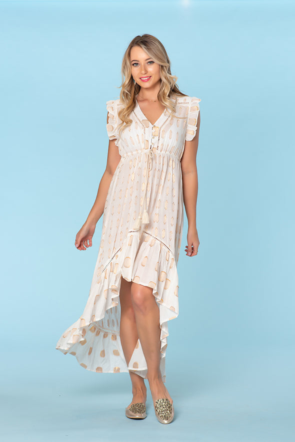 Sexy High low dress, off white with glitz