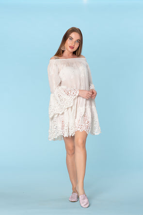 White lace sexy dress, off shoulder holiday dress