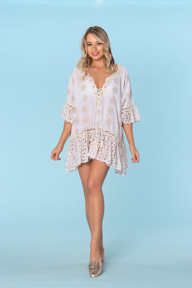 Ranee's white boho eyelet dress
