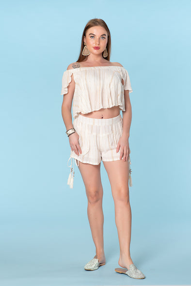 Summer White shorts set, sexy short set
