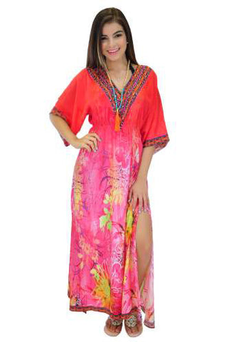 468 - Ranee's Pink Silk Maxi with slit
