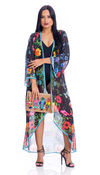 Floral Black duster, perfect for beach, cruise, or pair it with shorts/jeans!
