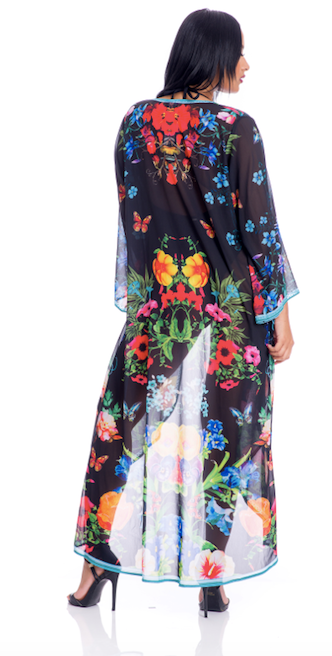 Floral Black duster, perfect for beach, crusie, or pair it with shorts/jeans!