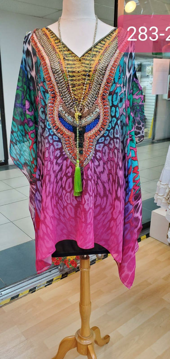 Multicolor short kaftan tunic