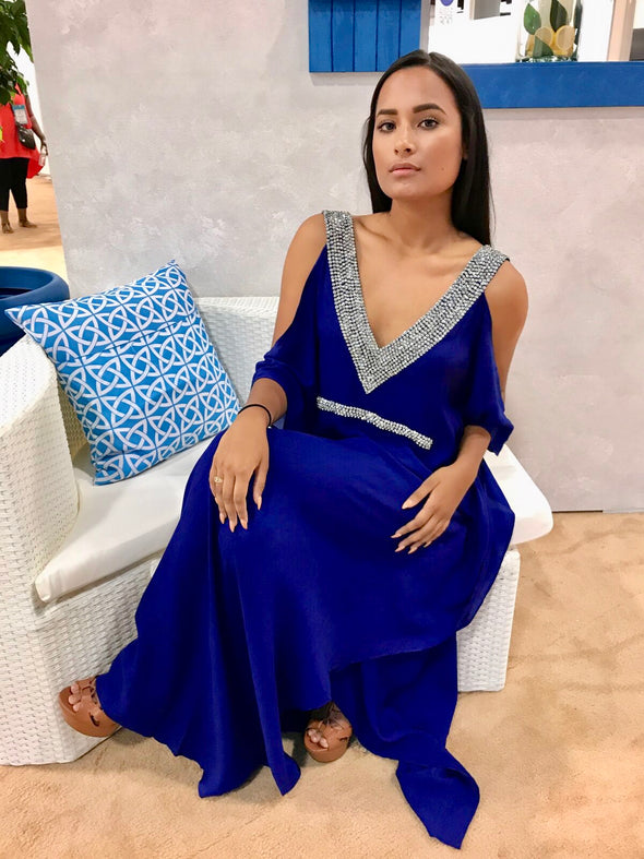 Cold Shoulder Electric blue  maxi with crystal embellishments