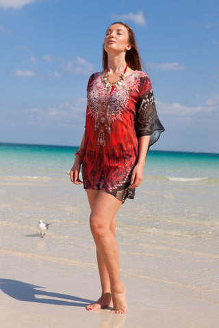 Red bell sleeve tunic