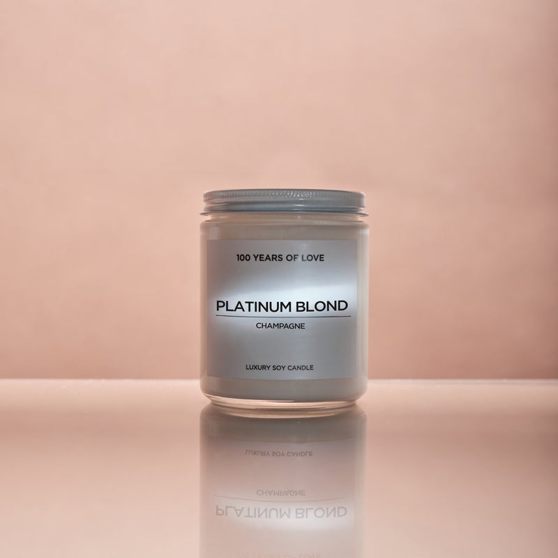 100 years of love, 100 years of love candles, 100 years of love candles Toronto, 100 years of love candles bloor west village, 100 years of love candles bloor street, 100 years of love Platinum Blond candle, Platinum blond candle, champagne candle, 100 years of love champagne candle