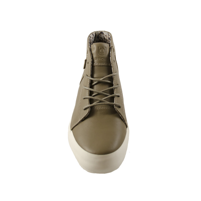 Unnown - Sonia (Stone) grey leather high top sneaker thick white sole