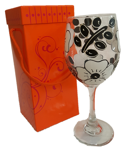 Black and White Flower Wine Glass Gift