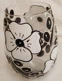 Black and White Flower Wine Glass with no stem