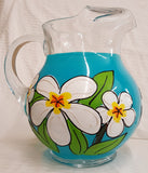 Blue with White Plumeria Flower Pitcher mom gift