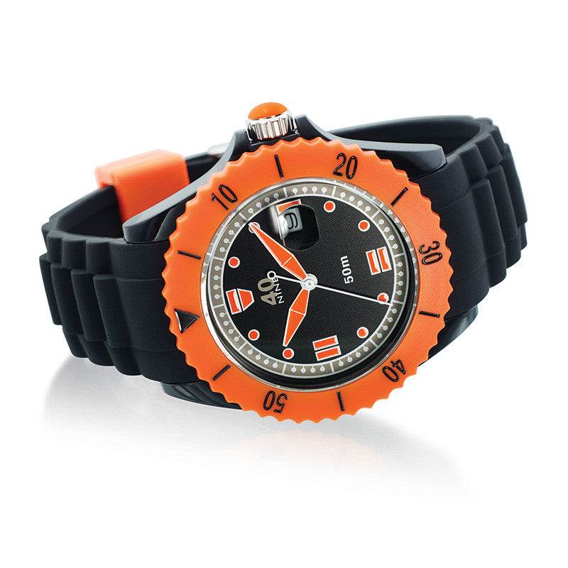 40Nine Large 45mm Black & Orange Watch