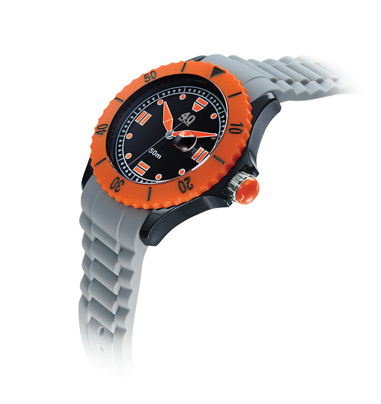 40Nine Large 45mm Grey & Orange Watch