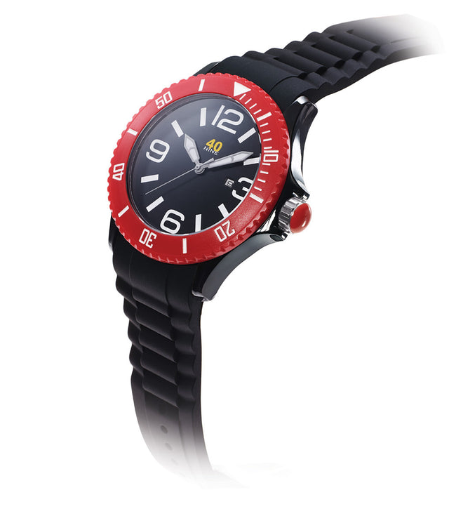40Nine Extra Large 50mm Black & Red Watch