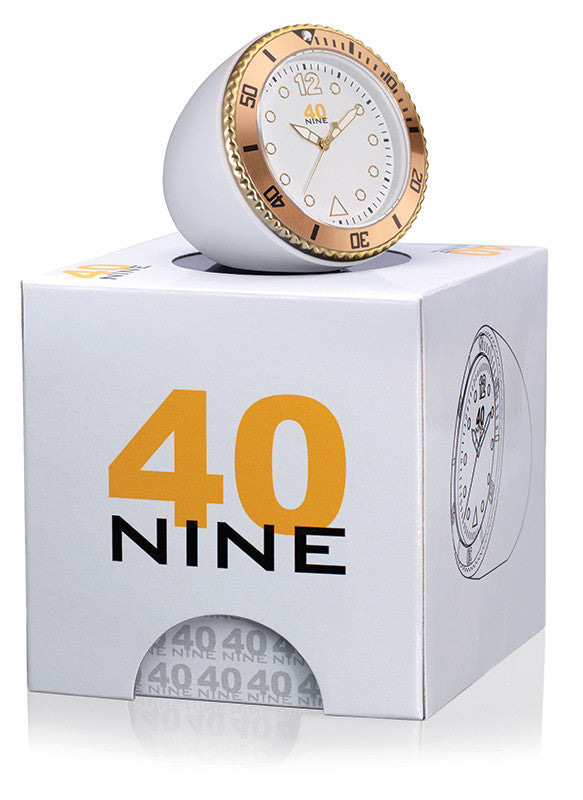 40Nine 45mm White & Gold Clock