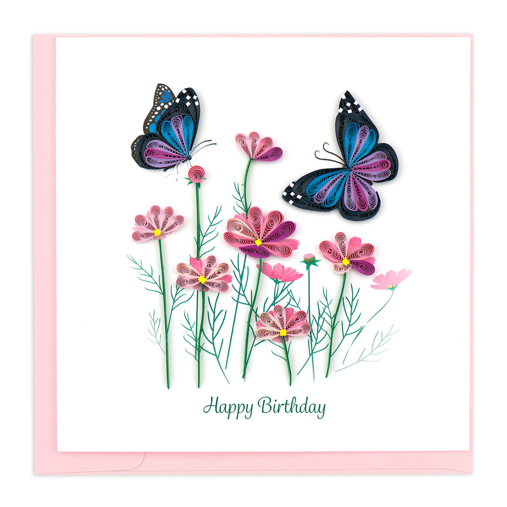 BD149 Quilling Card – Butterflies Birthday