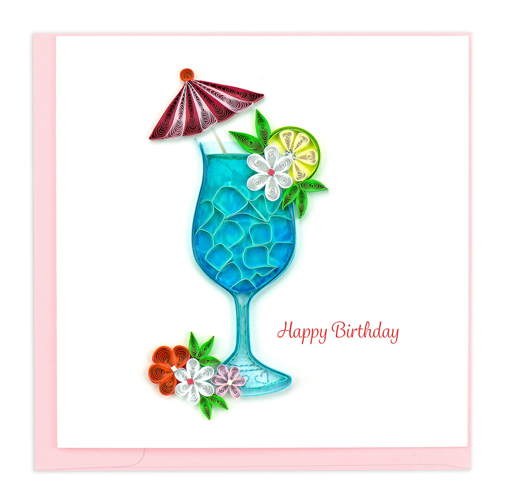BD150 Quilling Card – Tropical Cocktail Birthday