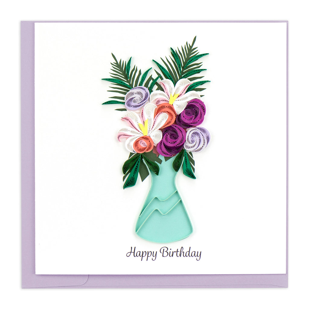 BD160 Quilling Card – Vase of Flowers Birthday