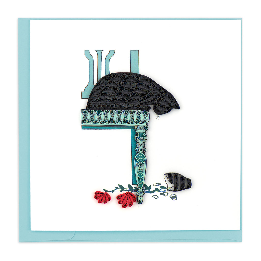 BL1007 Quilling Card – Black Cat, Broken Vase