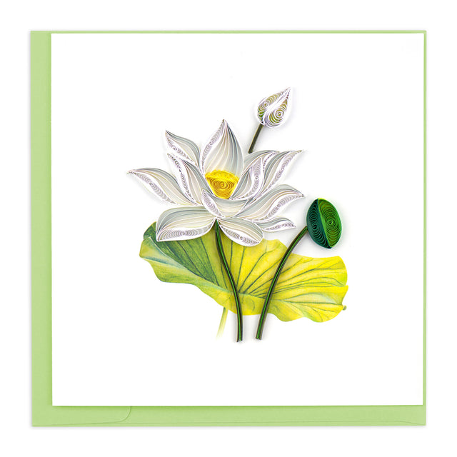 BL1124 Quilling Card –  White Lotus