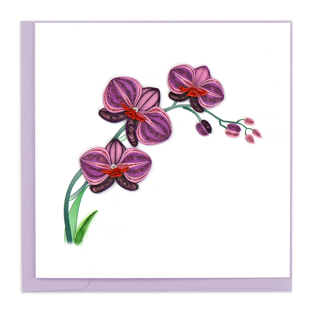 BL913 Quilling Card –  Purple Orchid