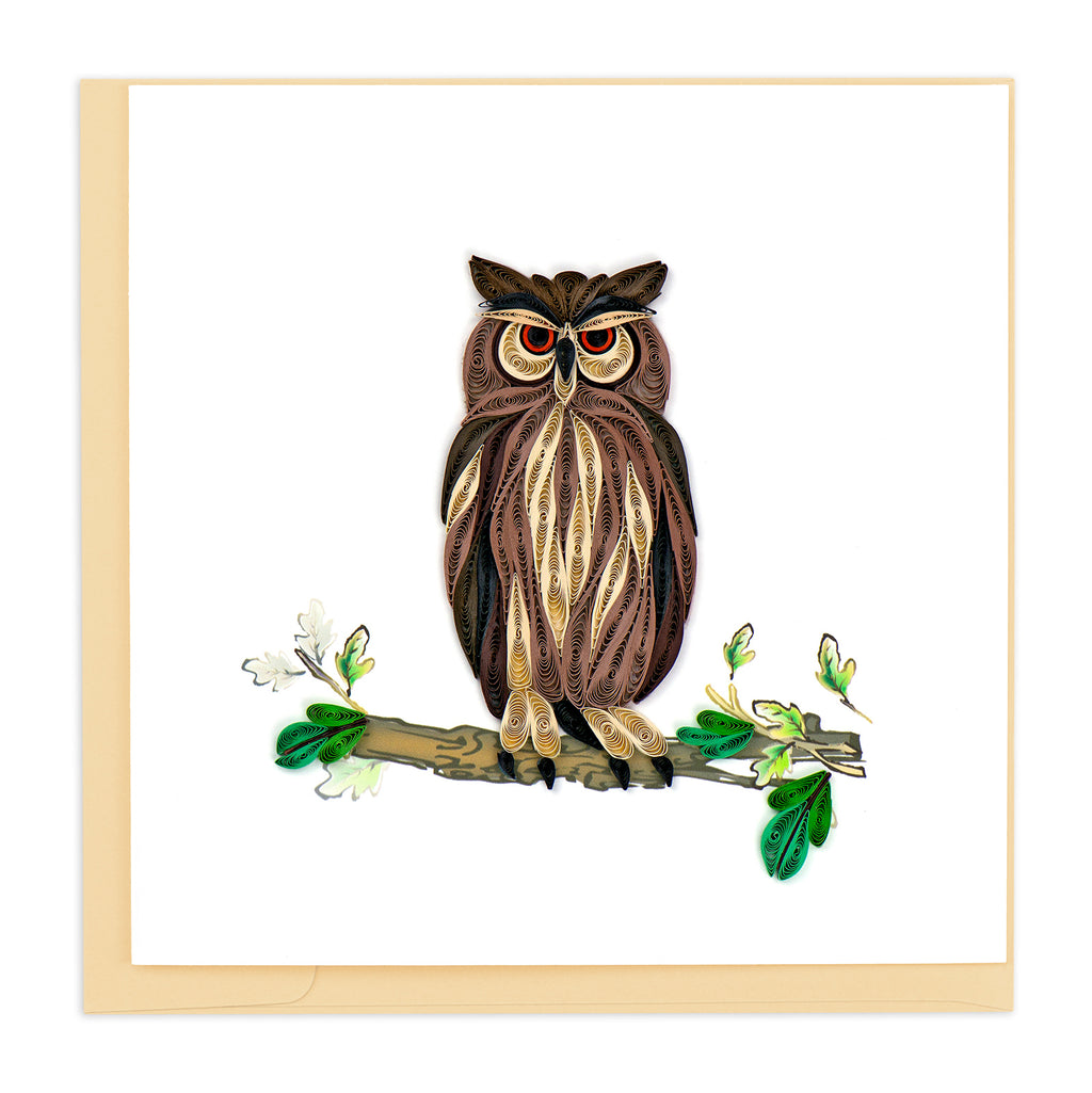 BL931 Quilling Card – Great Horned Owl