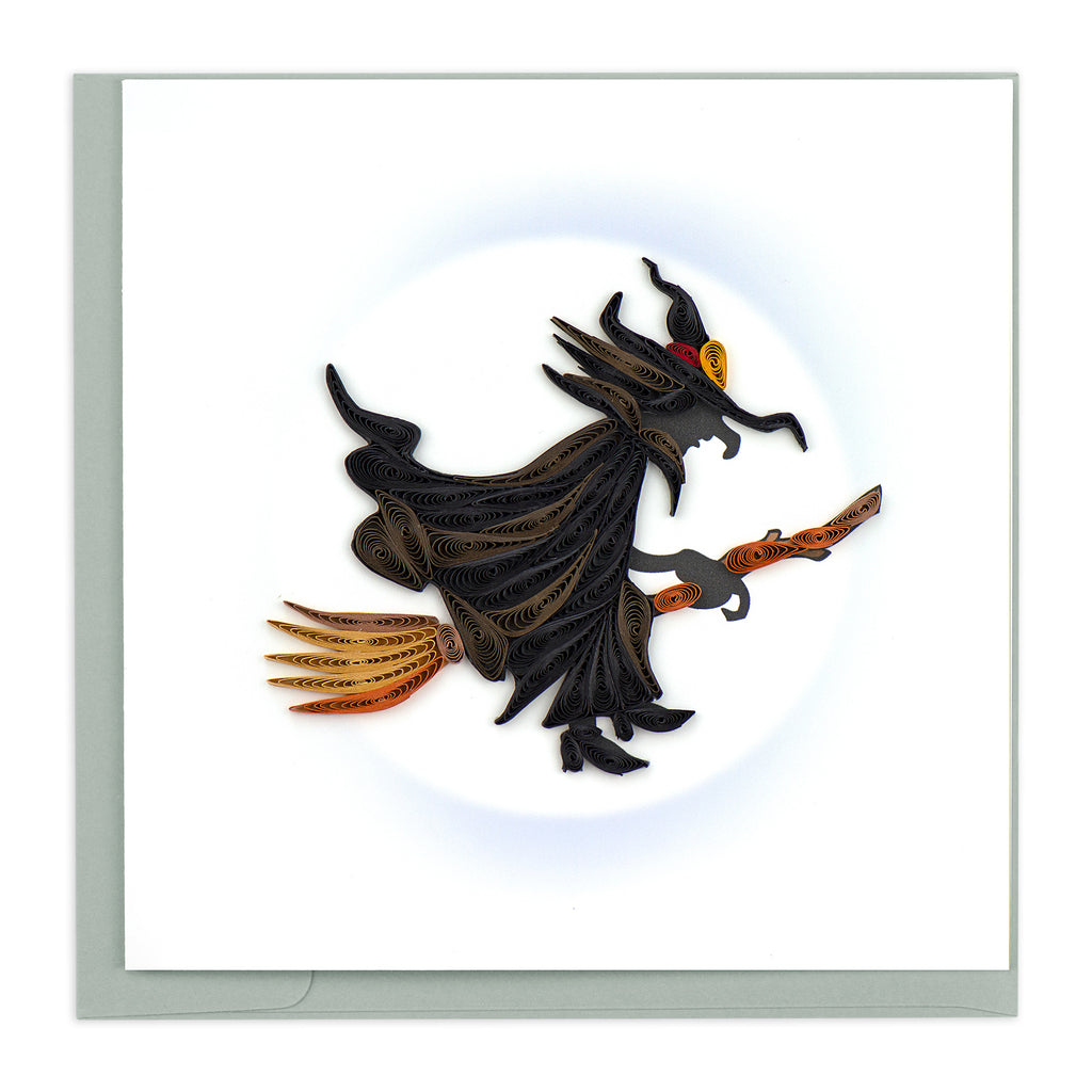 HD622 Quilling Card – Witch on Broomstick