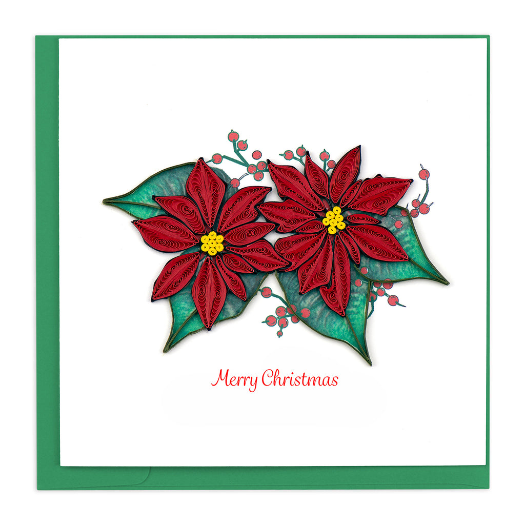 HD629 Quilling Card – Christmas Red Poinsettia