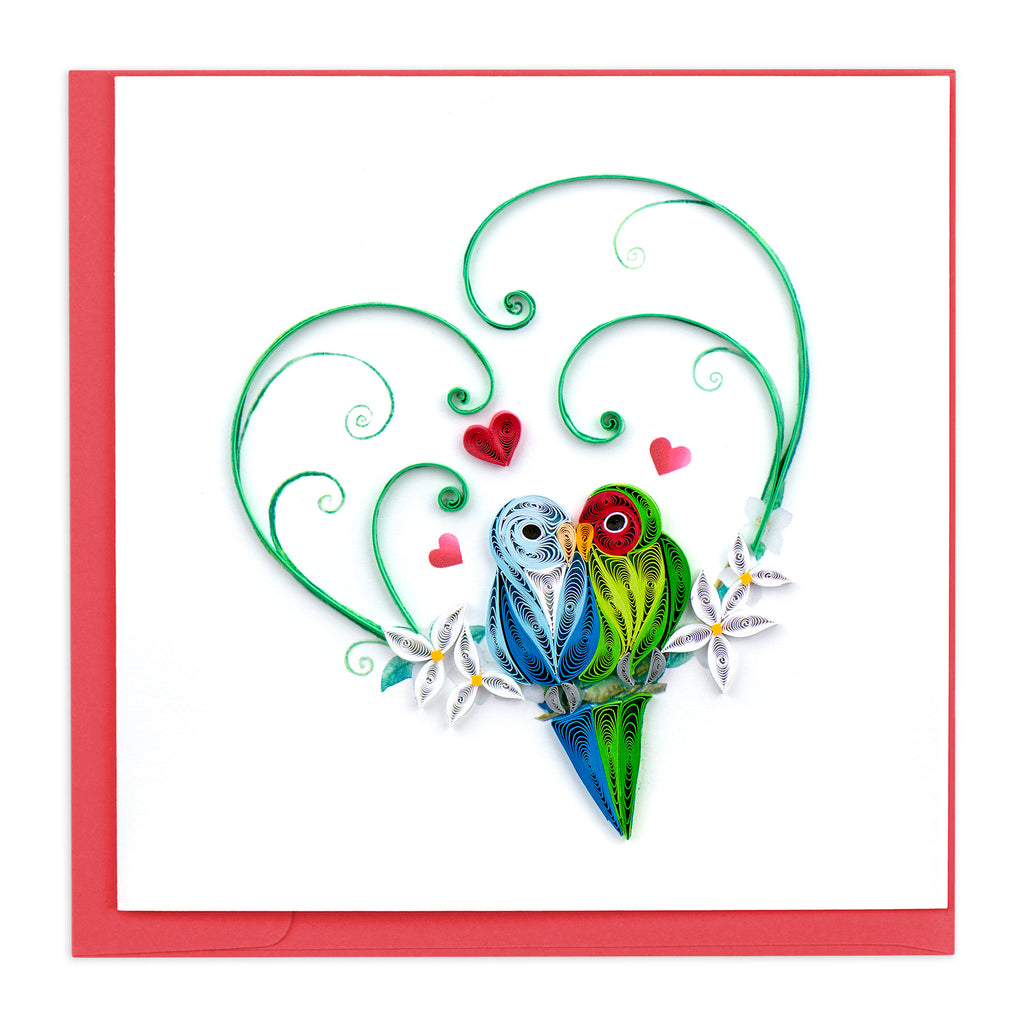 LV222 Quilling Card – Love Birds