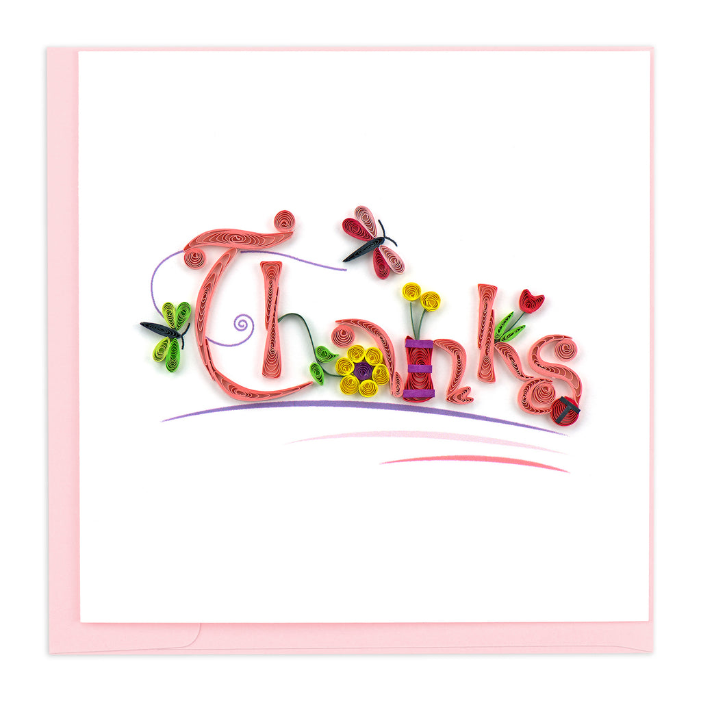 TY003 Quilling Card – Thanks with Flowers