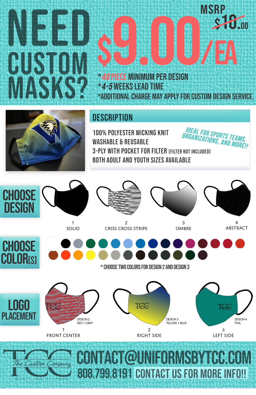 Custom Design Face Masks Hawaii