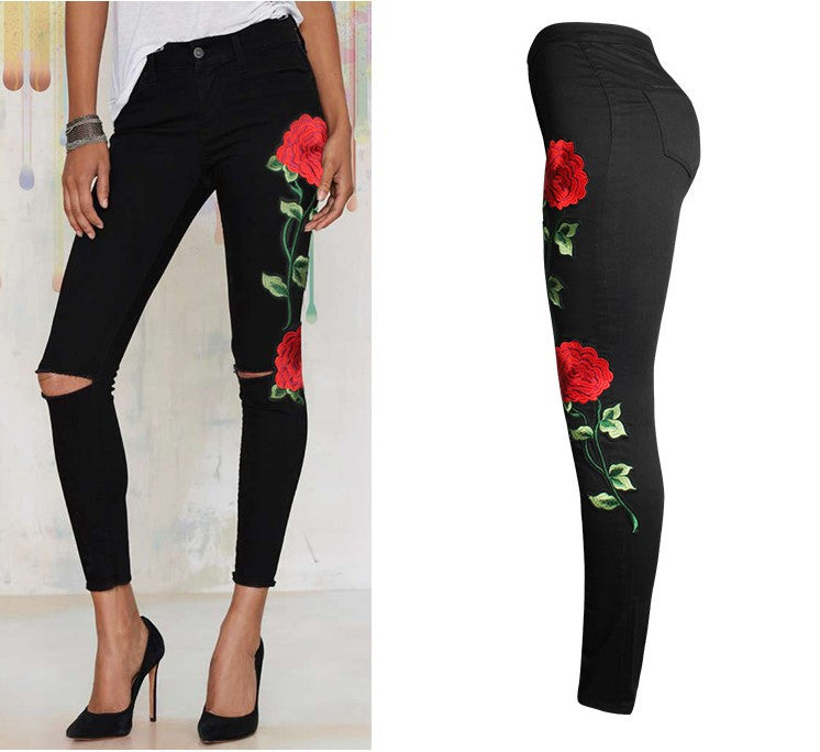 Sexy Vintage Embroider Flowers Women Jeans