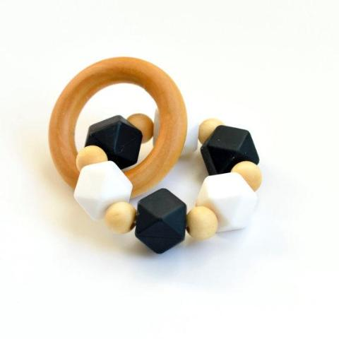 Black + White Eco-Friendly Silicone Teether
