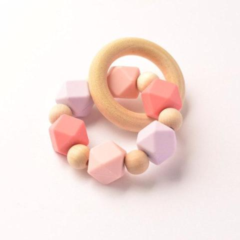 Pink + Purple Eco- Friendly Silicone Teether
