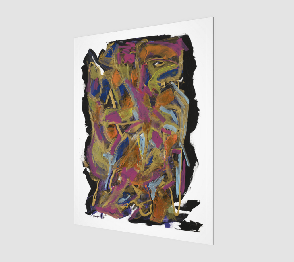 Abstract art print using colors purple, black, blue and green.