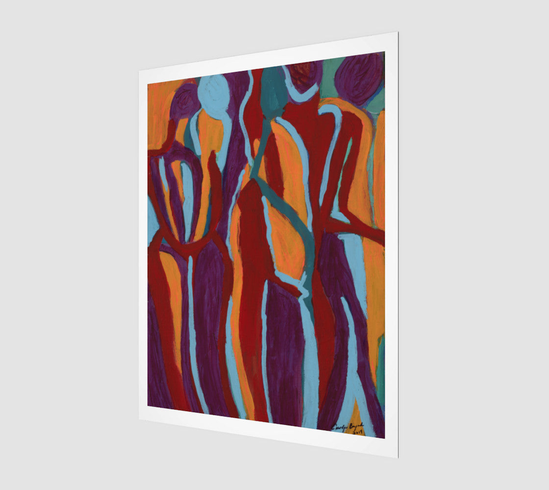 Abstract art print using colors purple, red, orange and blue.