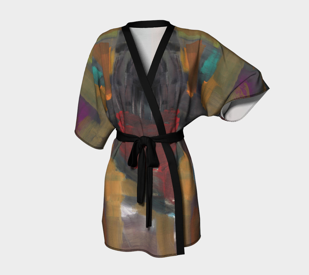 Kimono robe of abstract art.