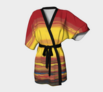 Kimono Robe of a sunrise and sunset using colors red, yellow and blue.