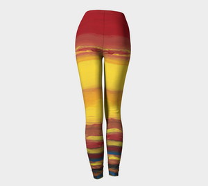 Art printed leggings of a sunrise and sunset.