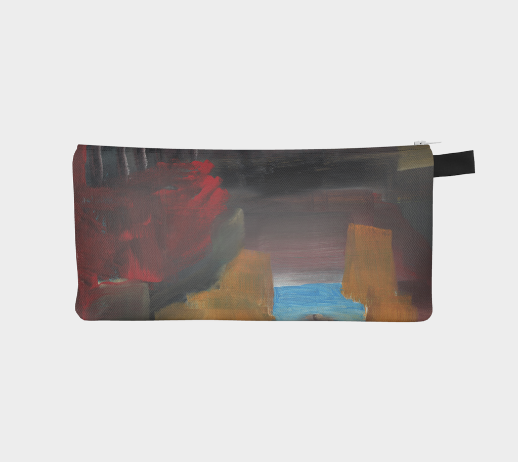 Abstract Art pencil case with colors blue, red, brown and black.