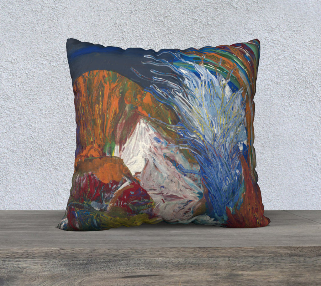 "22 x 22"" Pillow Case with colors blue, white, orange and green."