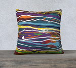 "22 x 22"" Abstract art pillow case using colors from Mardi Gras."
