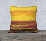 "22 x 22"" Art printed pillow case of a sunrise and sunset."