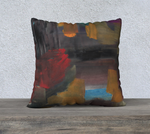 "22 x 22"" abstract art pillow case using colors red, blue, brown and black."