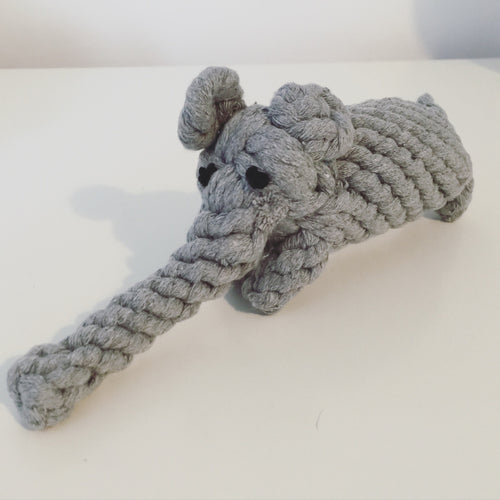 Knotted rope elephant dog toy