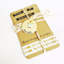 Barks and Bijoux hand stamped 28mm Brass ID tag with charm - customisable.