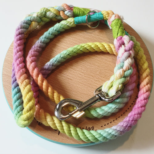 Haus of Hound hand dyed Shirobi double whipped 'Unicorn' rope leash