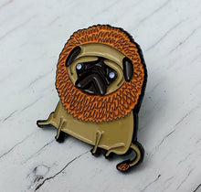 'Jungle Pug' enamel pin designed by Sophie Corrigan, part of the 'pugs in fancy dress' series.