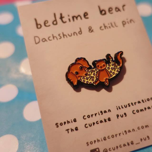 'Bedtime Bear' Dachshund & Chill petite enamel pin by Cupcake Pug Co x Sophie Corrigan