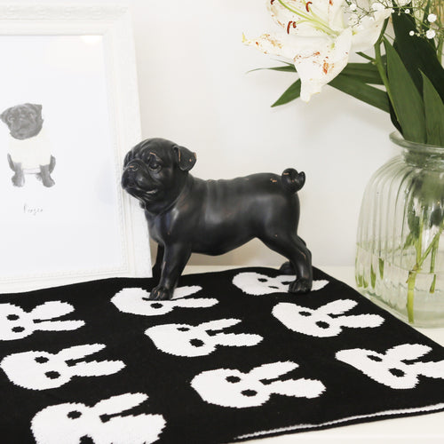Black & white bunny 100% cotton blanket
